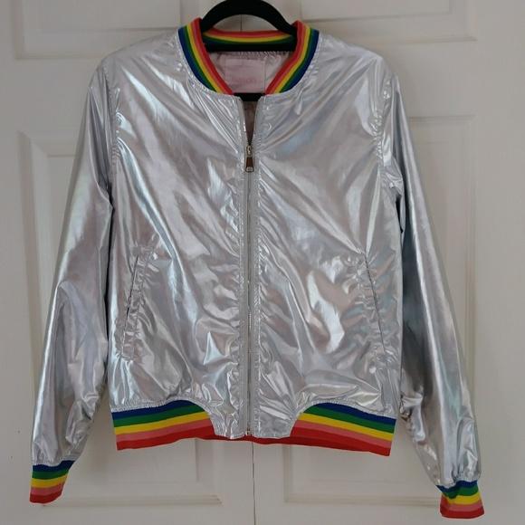 f515882c1 NWOT ban.do silver rainbow bomber jacket metallic